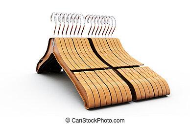 3d rendering of wooden coat hanger