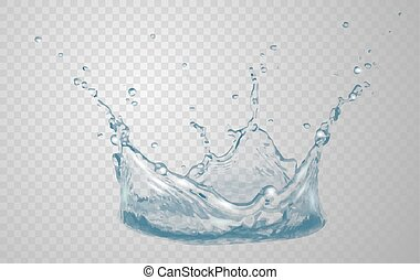 Transparent water splash in blue colors, isolated on transparent background. Scatter spray from falling into the water. Crown from splash of water. Transparency only in vector file