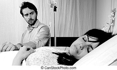mujer, ella,  hospital, sueño, Mirar, mientras, negro, enfermo, blanco, marido