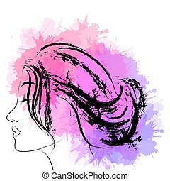 Fashion portrait of woman in profile with splashes of watercolor and ink strokes. Vector element for your creativity