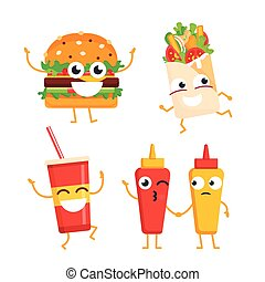Fast Food Characters - vector set of mascot illustrations. -...