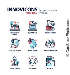 Ecology - modern color vector single line icons set. Low...