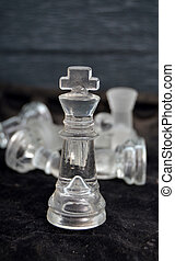 Chess concept , strategy.glass chess pieces - image of a...