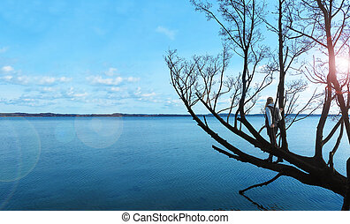 woman standing in a tree and looking over the lake
