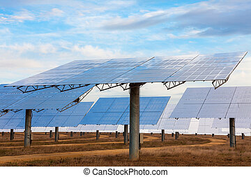 A Field of Green Energy Solar Mirror Panels - A field of...