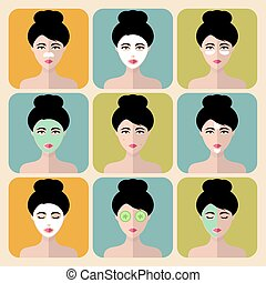Vector set of women icons with different cosmetic treatment facial masks in flat style.Female faces or heads collection.