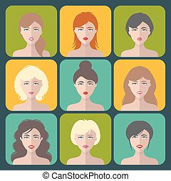 Big vector set of different women app icons in flat style. Female faces or heads collection.