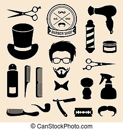 Vector set of barbershop icons with hipster face in flat style. Hairdressing salon elements collection.