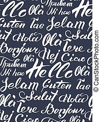 Vector hand lettering text Hello written on different...