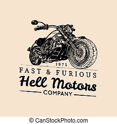 Vector vintage motorcycle logo.Biker store icon,MC sign, custom garage poster.Illustration of hand drawn classic chopper