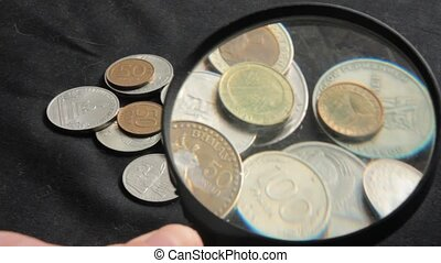 to see the collection of coins through a magnifying glass