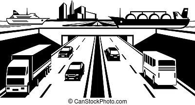 Water bridge above highway - vector illustration