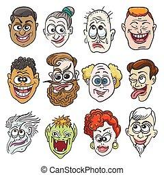 Colorful Doodle Faces Set - Doodle Faces Set in cartoon...