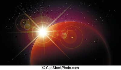Space background with red planet and rising star - Star rise...