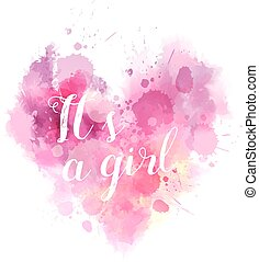 Babe gender reveal watercolored heart - Baby gender reveal...