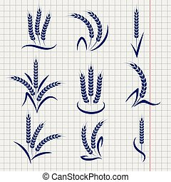 Wheat branches on notebook page background. Vector...