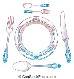 Colorful cutlery collection isolated on white - Colorful...
