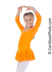 Little beautiful ballerina dancing in an orange dress...