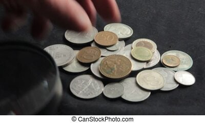 collection of coins - to see the collection of coins through...
