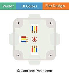 Electrical junction box icon. Flat design. Vector...