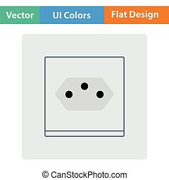 Swiss electrical socket icon. Flat design. Vector...