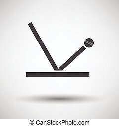 Cricket ball trajectory icon on gray background, round...