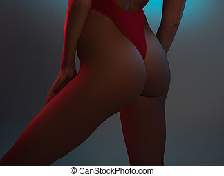 Perfect young girl ass in red swimsuit