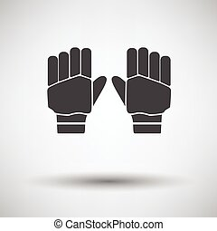 Pair of cricket gloves icon on gray background, round...