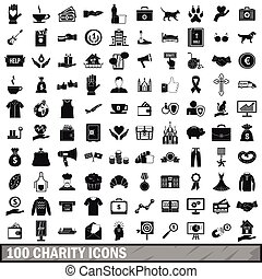 100 charity icons set, simple style - 100 charity icons set...