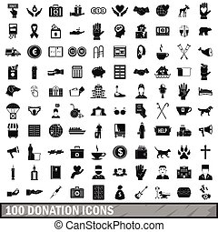 100 donation icons set, simple style