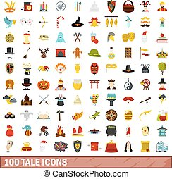 100 tale icons set, flat style