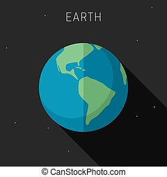 Earth planet in flat style with long shadow. Vector simple...