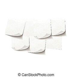 Set of white empty sticky notes on white