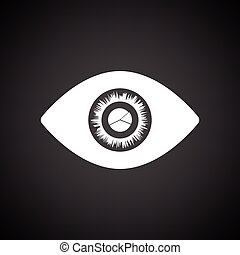 Eye with market chart inside pupil icon. Black background...