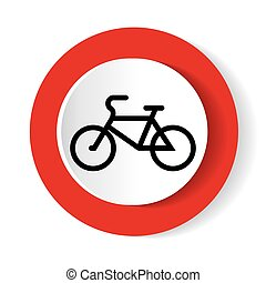 Bicycle icon on a red background. Vector illustration.