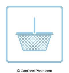 Supermarket shoping basket icon. Blue frame design. Vector...