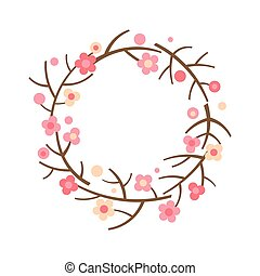 Decorative spring wreath. Frame from blooming branches of sakura and cherry.
