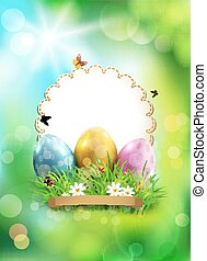 Vector easter background, with eggs, grass and round card...