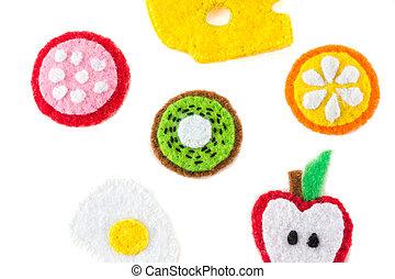 close-up, brinquedo, forma, alimento, Ofícios, feito à mão, feltro, feito, bordado, frutas