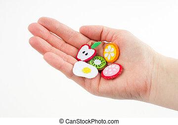 close-up, brinquedo, forma, alimento, frutas, feito à mão, feltro, mão, feito, esticado, bordado, Ofícios, palma