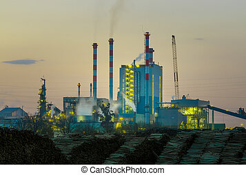 Cellulose factory - Power plant in the sunset