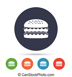 Hamburger icon. Burger food symbol.