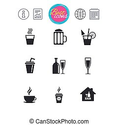 Cocktail, beer icons. Coffee and tea drinks. - Information,...