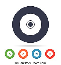 CD or DVD sign icon. Compact disc symbol. Round colourful...