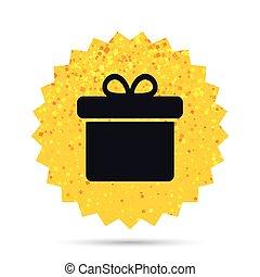 Gift box sign icon. Present symbol. - Gold glitter web...