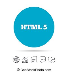 HTML5 sign icon. New Markup language symbol. Copy files,...