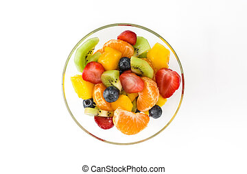 Fruit salad in crystal bowl isolated on white background.Top...