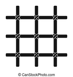 Lattice in the cell of the prisoner. A metal door to hold criminals.Prison single icon in black style bitmap symbol stock illustration.