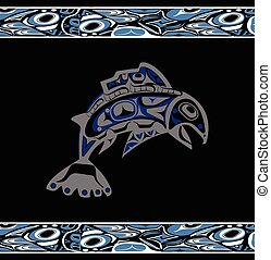 native salmon Vector fish in blue on black background with...