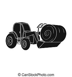 Orange tractor with a ladle transporting hay bale. Agricultural vehicles.Agricultural Machinery single icon in black style bitmap symbol stock illustration.